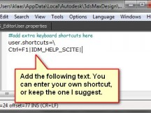 Add teh text to the options to create the shortcut