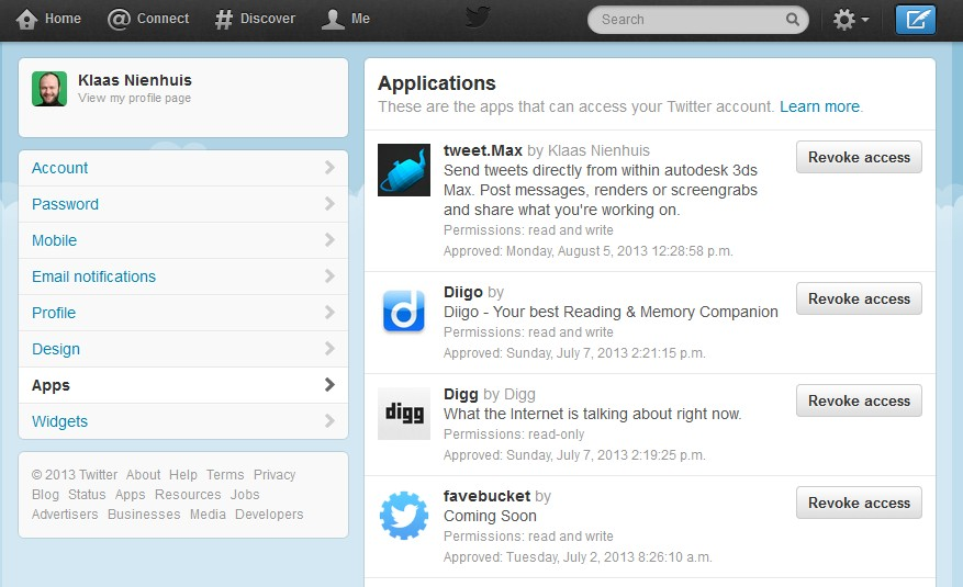 tweetmax revoke access