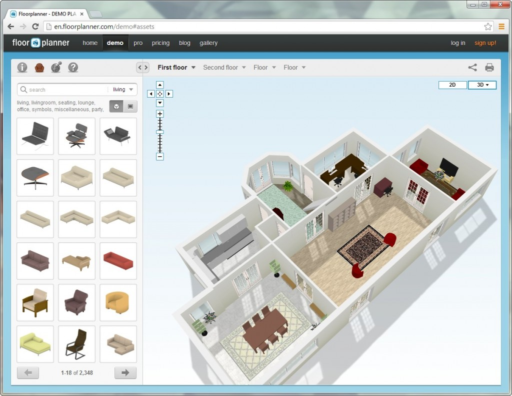 Online floorplanner in 3D