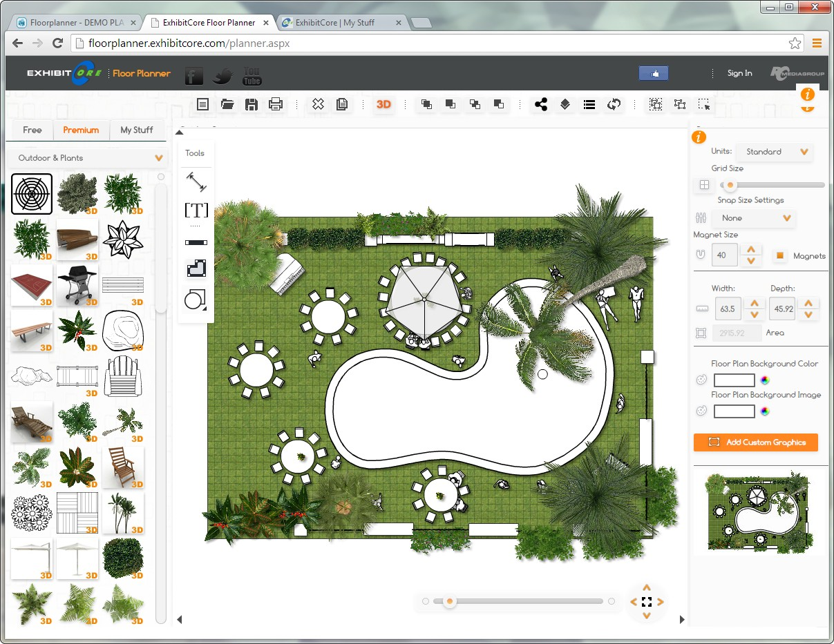 The exhibitcore floorplanner lets you add your own 3d content with the
