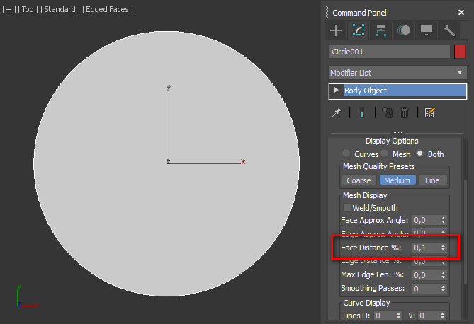 face distance % circle