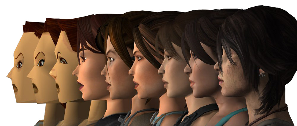 Left to right: the upcycling of the Lara Croft 3D model from the Tomb Raider games.