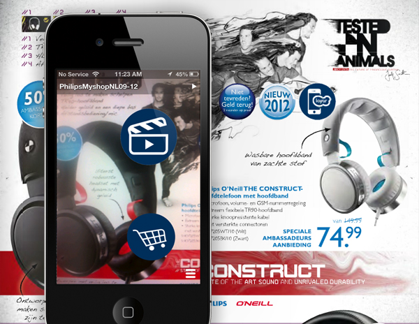 Simpler augmented reality enhances print media with buttons. It's mostly flat. Source: layar