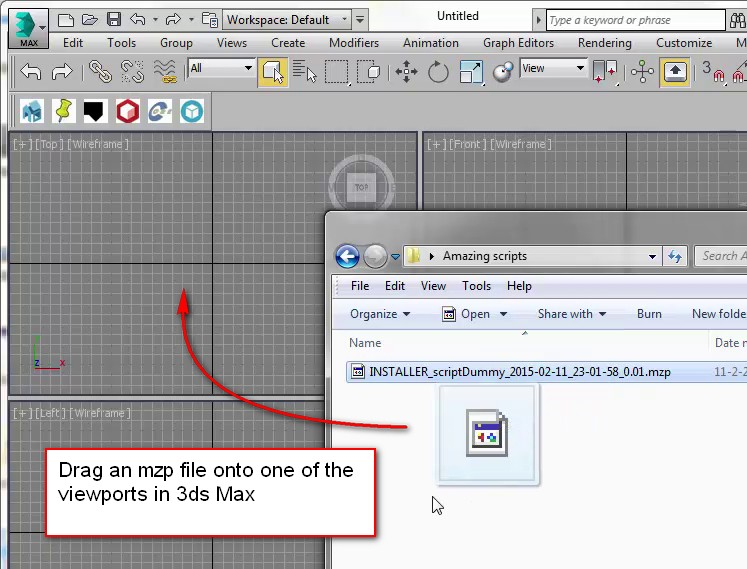 Drag the mzp file onto a viewport