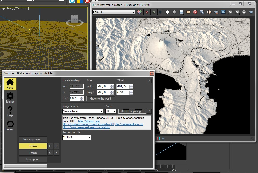 Create a map with terrain heights